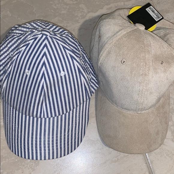 Forever 21 Other - 2 Hat Bundle / Beige Corduroy / Blue Striped